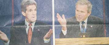 [Bush and Kerry photos]